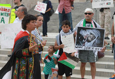 Woman speaks at rally about Middle East Crisis  at Stock Photo