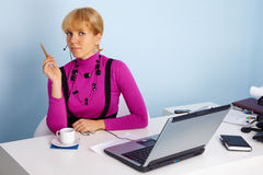 Woman - specialist of technical support stock photo