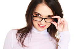Woman with spectacles. Smiling young woman with spectacles Stock Images