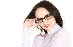 Woman with spectacles. Smiling young woman with spectacles Royalty Free Stock Photos