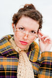 Woman in spectacles on a walk in the park Stock Photo