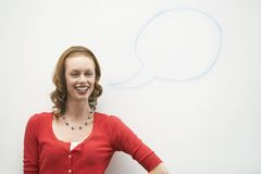Woman With Speech Balloon Stock Photography