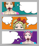 Woman with Speech Bubble Banner Set Stock Photos