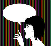 Woman with speech bubble Royalty Free Stock Images