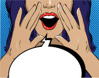 Woman with speech bubble in retro pop art style. Girl screaming template comic vector illustration. Face open mouth Stock Image