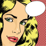 Woman with speech bubble. Vector illustration in retro pop art comic style.  Royalty Free Stock Photo