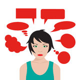 Woman with speech bubbles Stock Photo