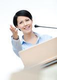 Woman speech maker at the board Royalty Free Stock Photography