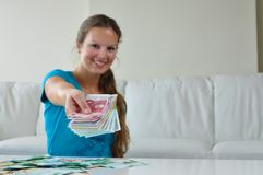 Woman spending money stock images