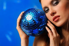 Woman with sphere Royalty Free Stock Image