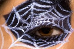 Woman with spider cobweb Royalty Free Stock Images