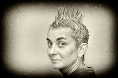 Woman with spiky hair Royalty Free Stock Image