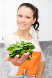 Woman with a spinach in a modern kitchen Stock Images