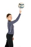 Woman spinning ball Stock Photos