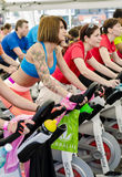 Women at spinning class Royalty Free Stock Images