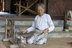 Woman Spinning Cotton Myanmar Stock Image