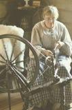 Woman Spinning Wool Stock Photos