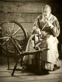 Woman Spinning Wool Royalty Free Stock Image