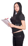 Woman with spiral notebook Royalty Free Stock Image