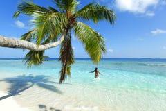 Woman splashing in sea Royalty Free Stock Photo