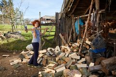 Woman splitting wood. Woman with an ax splitting beech logs for firewood Royalty Free Stock Photography
