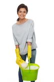 Woman with sponge and bucket Royalty Free Stock Images