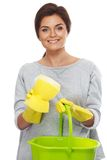 Woman with sponge and bucket Stock Photos