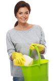 Woman with sponge and bucket Stock Image