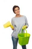 Woman with sponge and bucket Stock Photo