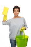 Woman with sponge and bucket Royalty Free Stock Photos