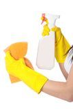 Woman with sponge and spray. Royalty Free Stock Photography