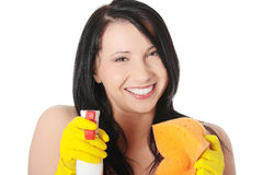 Woman with sponge and spray Stock Images
