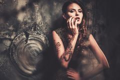 Woman in spooky interior Royalty Free Stock Photography