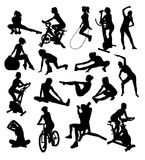 Woman,Sport Activity Silhouettes Royalty Free Stock Image