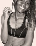 Woman in Sport Bra With Braided Hair Grayscale Photo Royalty Free Stock Photography