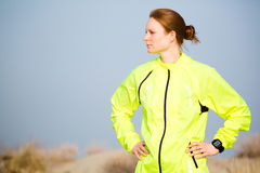 Woman in Sport Clothing Outdoors Royalty Free Stock Image
