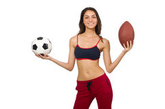 Woman in sport concept isolated on white Royalty Free Stock Photography