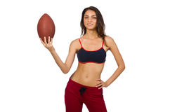 Woman in sport concept isolated on white Stock Image