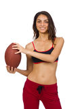 The woman in sport concept isolated on white Stock Photography