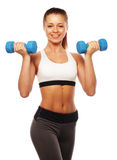 Woman in sport equipment practice with hand weights Stock Photos