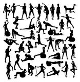 Woman Sport, fitness and Gym Activity Silhouette. Exercises Fitness and Gym Sport Silhouettes, art vector design Stock Photos