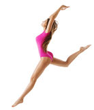 Woman Sport Gymnast, Young Girl Dance Jump, Slim Sporty Body stock images