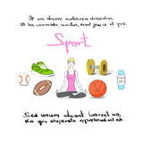 Woman Sport Icon Hand Draw Color Logo Set Royalty Free Stock Images