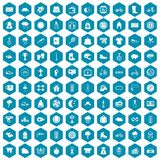 100 woman sport icons sapphirine violet. 100 woman sport icons set in sapphirine hexagon isolated vector illustration Stock Images