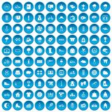 100 woman sport icons set blue Stock Photography