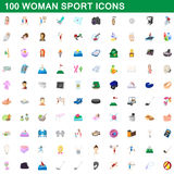 100 woman sport icons set, cartoon style. 100 woman sport icons set in cartoon style for any design vector illustration Royalty Free Stock Images