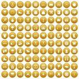 100 woman sport icons set gold. 100 woman sport icons set in gold circle isolated on white vector illustration Stock Photos