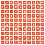 100 woman sport icons set grunge orange. 100 woman sport icons set in grunge style orange color isolated on white background vector illustration Stock Photos