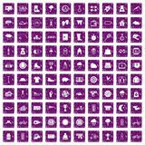 100 woman sport icons set grunge purple Royalty Free Stock Photography