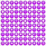 100 woman sport icons set purple. 100 woman sport icons set in purple circle isolated on white vector illustration Royalty Free Stock Image